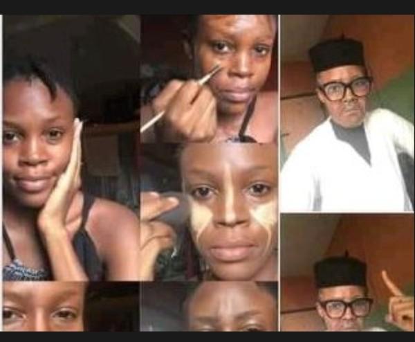 Wow! Nigerian Makeup Artist Turns Her Face To President Buhari's Face (Photos)