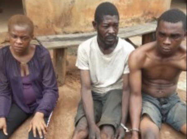 Nine Months Pregnant Woman And Two Men Arrested For Armed Robbery In Edo State (Photo)