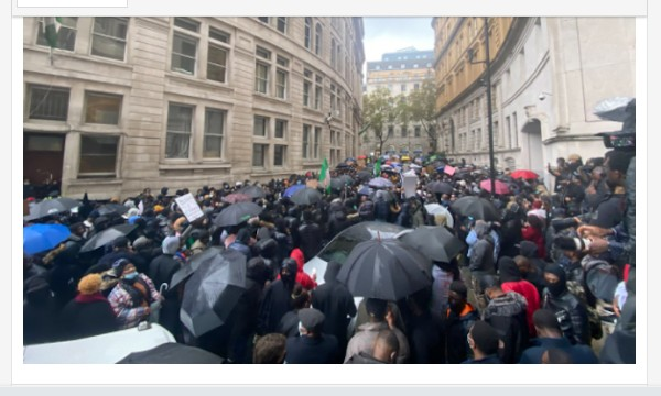 Breaking! 'Nigerians In The UK, Storm Nigeria High Commission To Demand An Answer To Lekki Shootings