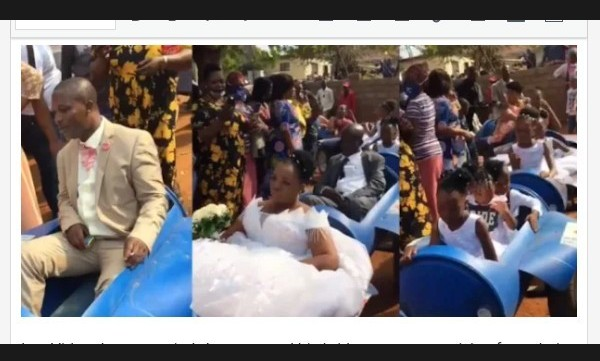See Moment Bride And Groom Arrive Their Wedding Venue In A Locally Made Limousine (Video)