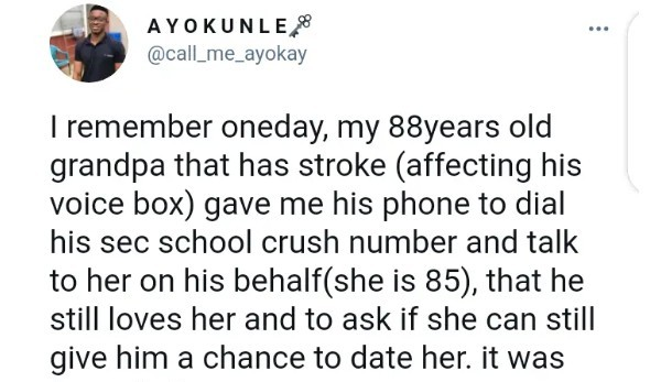 My 88-Year-Old Grandpa Gave Me His Phone To Call His Secondary Crush And Tell Her He Still Loves Her- Twitter User Reveals And People React