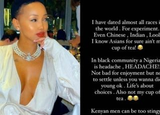 """""""I Have Dated Almost All Races But I Don't Like Nigerian Men- Huddah Munroe"""